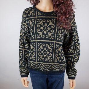 Vintage Black Gold Sparkle Holiday Sweater Sz Med